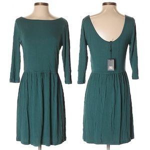 Tart Teal Boatneck, Scoop Back Dress, Med